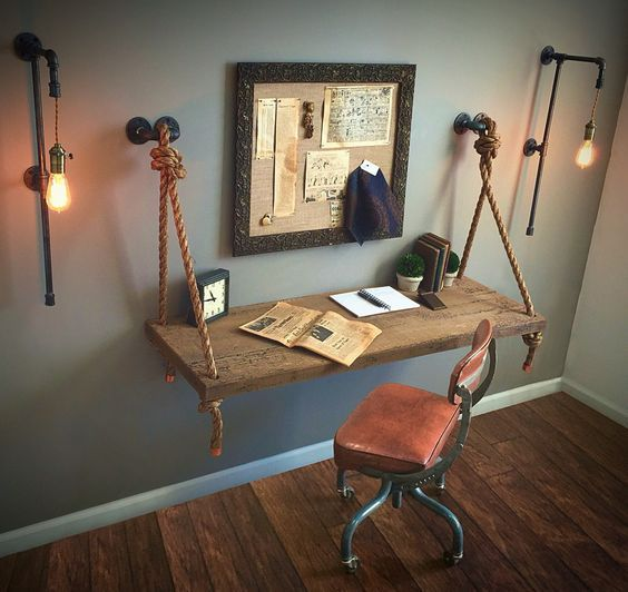 Hanging Desk with Ropes