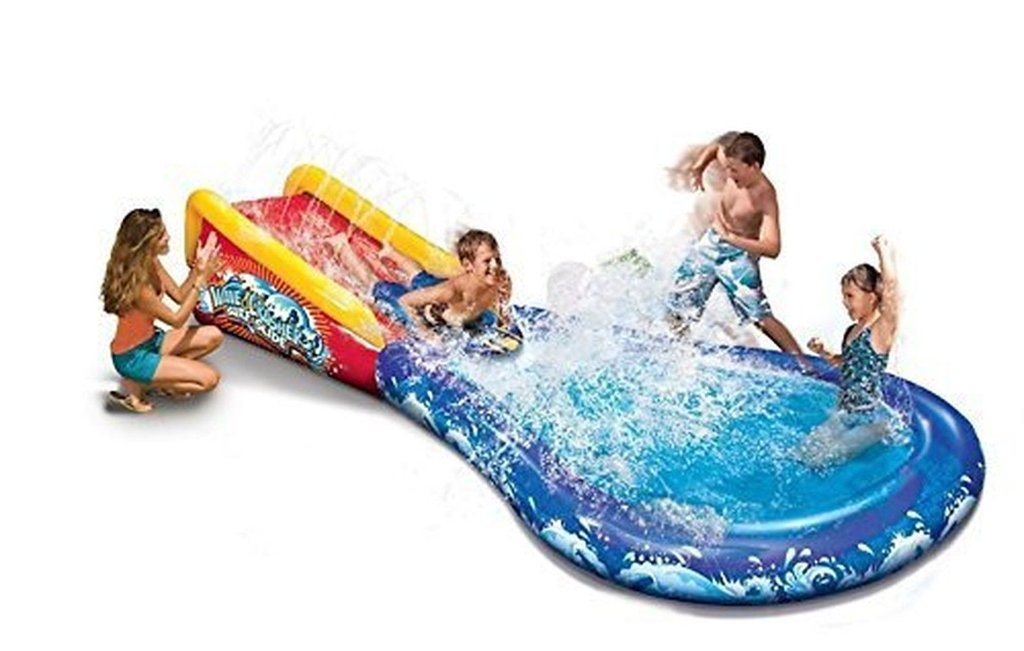Inflatable Wave Crasher Surf Water Slide and Pool with Body Board by Banzai
