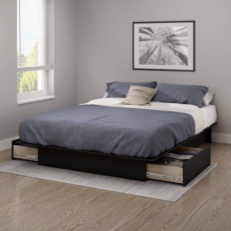 Bed with Drawers Grey