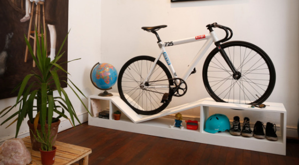 Bike on Shoe Shelf