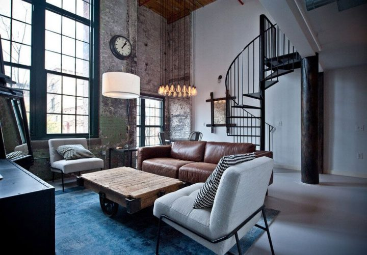 Industrial Design Bachelor Pad with Leather Sofa