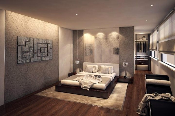 Bachelor Pad Bedroom with Interestingly Texturised Walls