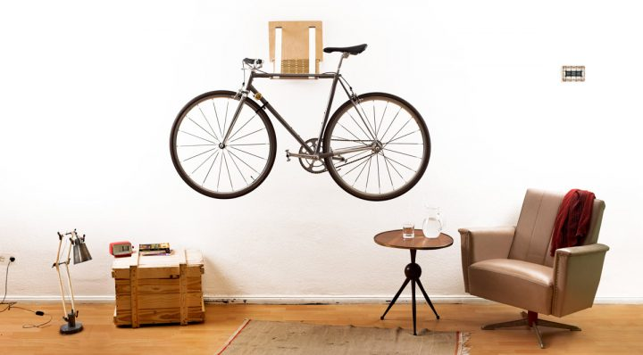 Wall-Mounted Bike in Bachelor Pad