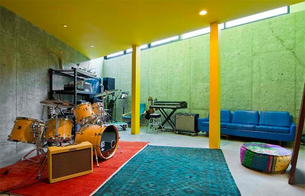 Basement Music Room Made Comfortable by a Riot of Colours