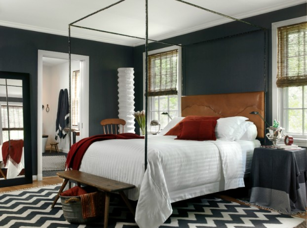 Bedroom Colour Scheme: Dark Grey Walls, White Ceiling and Bed-Linen, Red Cushions and Throw
