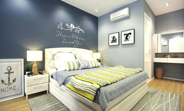 Bedroom Colour Scheme: Dark and Lighter Grey Walls combined with Light Grey Furniture and Various Shades of Grey in Fabrics and Decorations With a Spash of Colour in a Yellow-and-Grey Throw