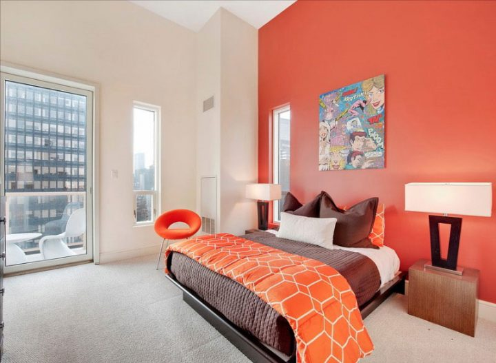 Bedroom Colour Scheme: Orange Wall and Details Contrasted with Light Fabrics and Walls, and Some Darker Details