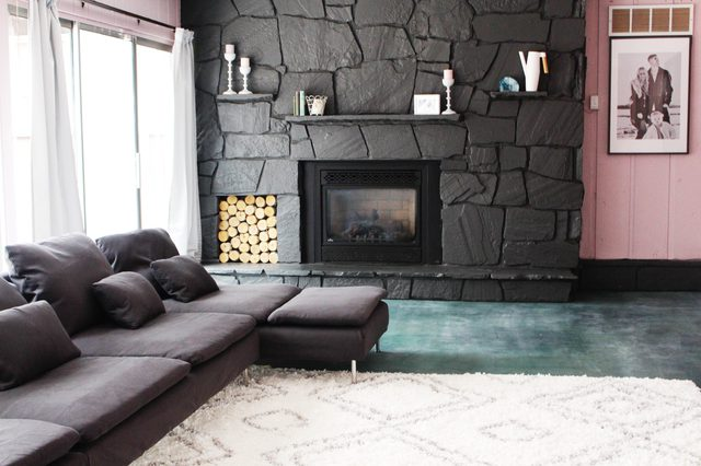 Black Painted Stone Fireplace
