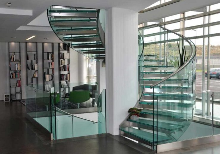 Circular Staircase with Glass Steps and Railing