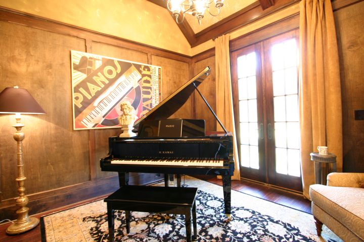 Classic Piano Room with Modern Art