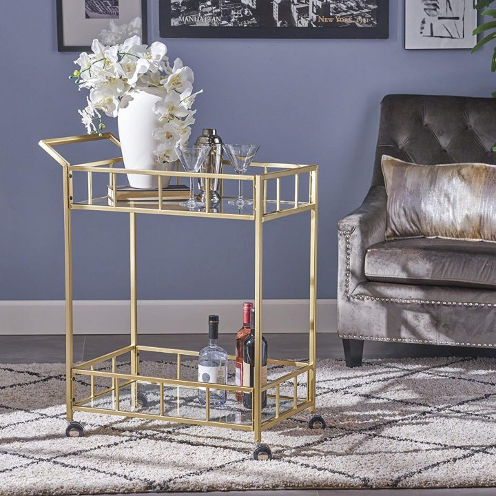 Bar Cart in Front Of Armchair