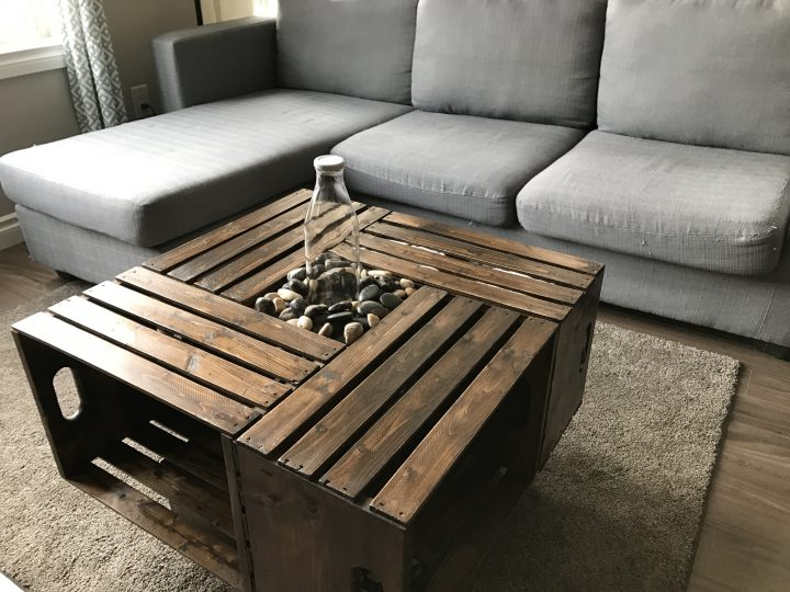 Four Crates Used as Coffee Table