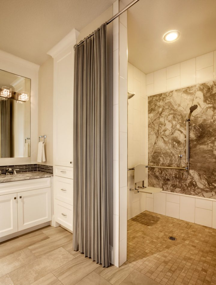 Doorless Shower with Beautiful Curtain for Privacy