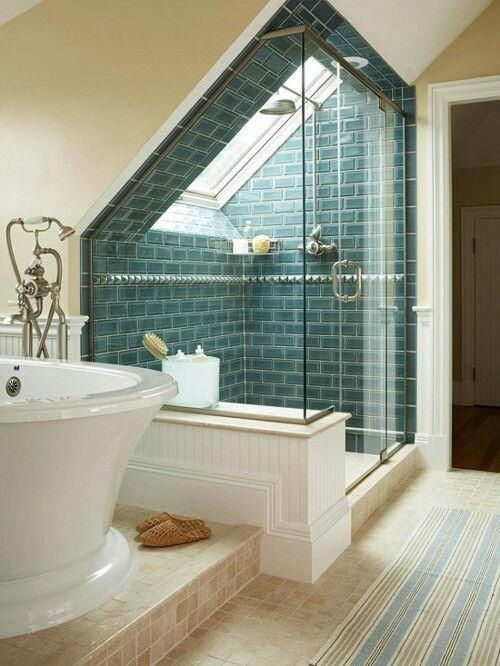 Shower Cubicle Placed into the Window Nook