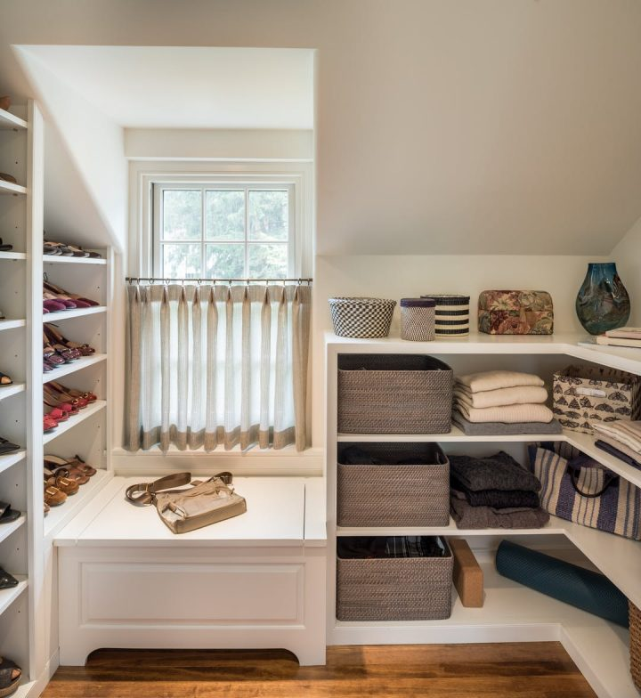 Storage Space with Shoe Shelves in Dormer Window