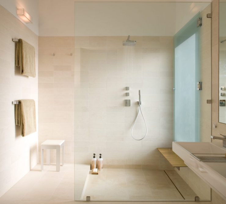 Limestone Floor Walk-In Shower
