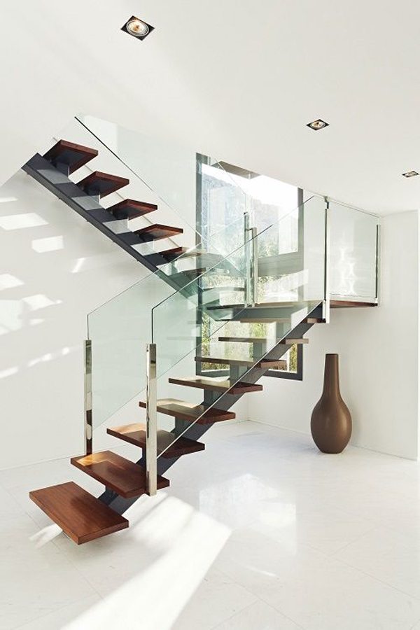 Floating Stairs with Glass Walls