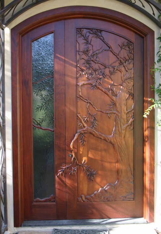 Carved Wooden Front Door With Tree Design