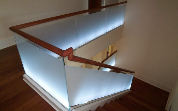 Frosted Glass Panels with White Lighting on Bottom