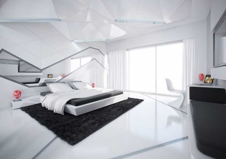 Futuristic Bedroom Idea: Asymmetrically Designed White Bedroom With Black Rug, Black Dresser, and Black Sheets in Front of Light Window Front