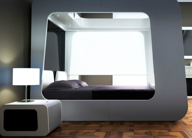 Futuristic Design Idea: Mattress Inside a Pod-Like White Cubic Bedframe