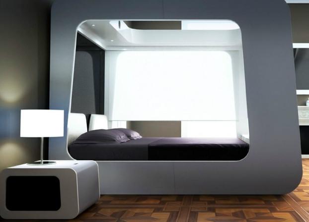 Futuristic Design Idea: Mattress Inside a Pod-Like White Cubic Bedframe