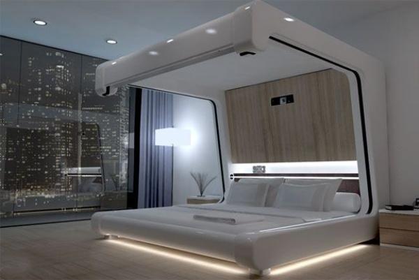 Futuristic Bedroom Idea: White Canopied Bed Made of Shiny Plastic