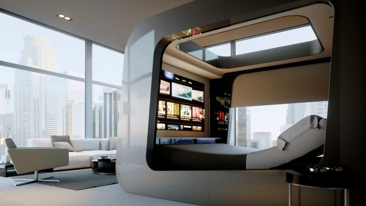 "Futuristic Bedroom Idea: Pod Like Bed With ""Skylight"" and Multiple Screens Mounted at the Footboard to Form a HighTech Media Centre"