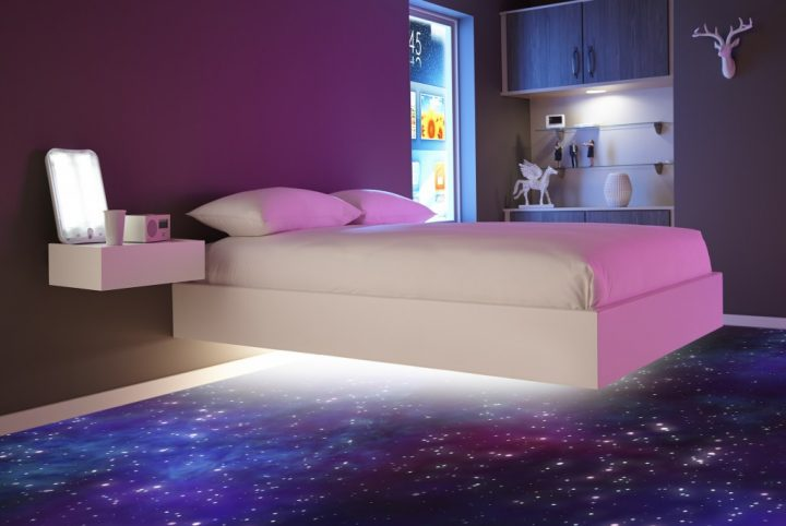 Futuristic Bedroom Idea: Floating Bed  above a Universe-like Carpet