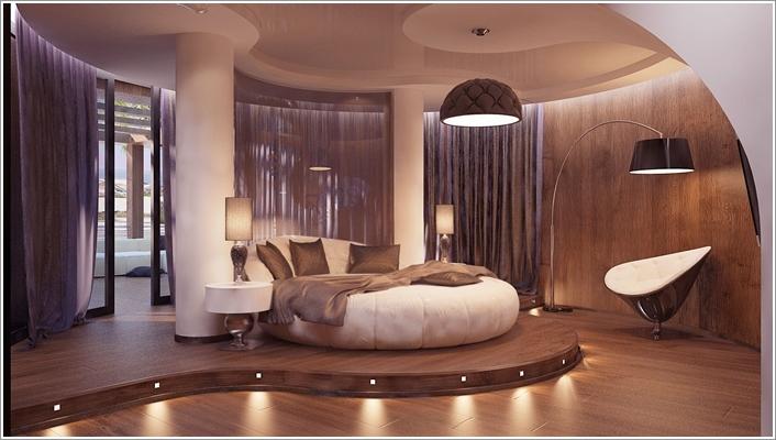 Futuristic Bedroom Idea: Circular Bed on a Circular Platform Set with Spotlights
