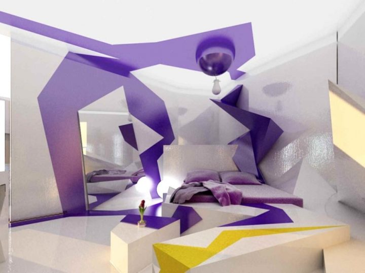 Futuristic Bedroom Idea: Violet Paint Integrated in the Floor, Wall and Ceiling Used to Create an Optical Illusion of Gemetric Shapes and Canopy in Which the Bed Is Set