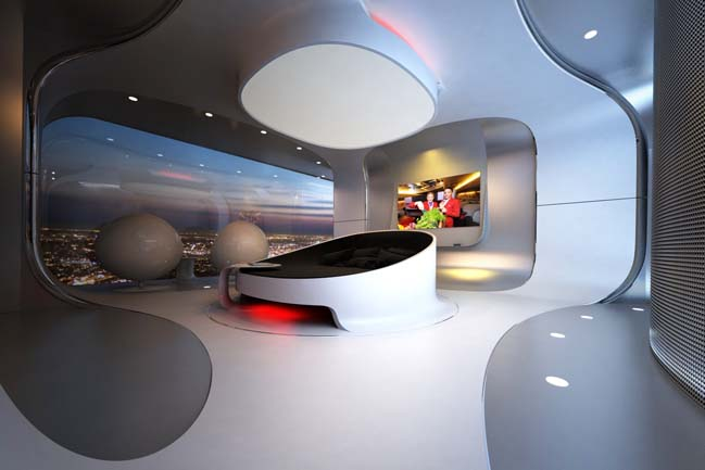 Futuristic Bedroom Idea: Minimalist Bedroom with Circular Bed Beneath a Similarly Shaped Lighting Fixture