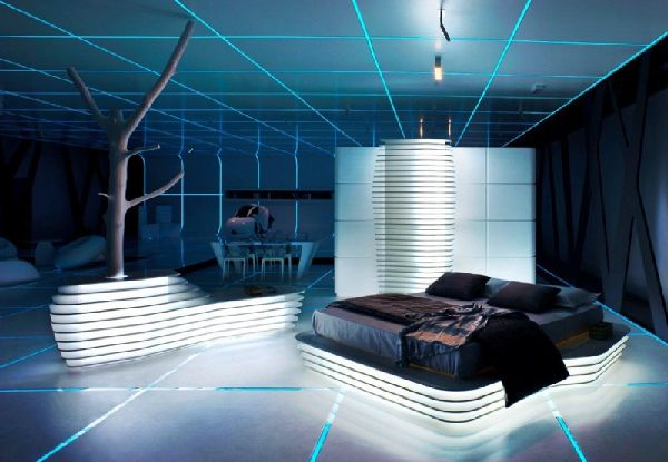 Futuristic Bedroom Idea: Reduced Design with Curvy Furniture and Sharp Geometric Angles and Lines on the Floor and Ceiling