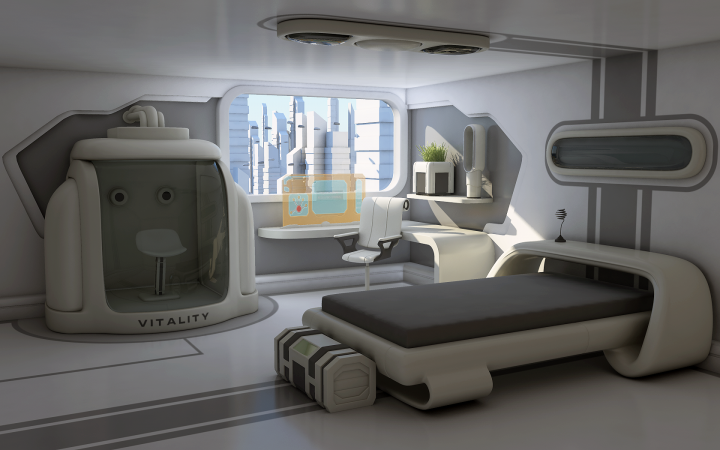 Bedroom Design Idea: Sci-Fi Interpretation of a Living Quarter with Minimalist Bed and Holographic Workspace in Front of Window