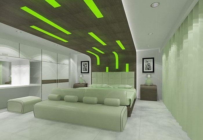 Futuristic Bedroom Idea: Mint Green Bed, Headboard, and Sofa under a Wooden Canopy Stretching the Ceiling with Neon Green Lights