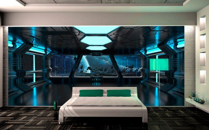 Futuristic Bedroom Idea: Minimalist Bed Set in Front of Spacecraft Interior Wallmural