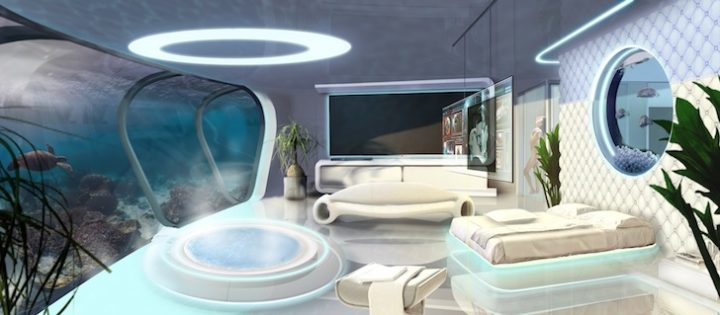 Futuristic Bedroom Idea: Bedroom with Circular Window over Bed and Curved Wall Made to Look Like an Underwater View on the Opposite Side