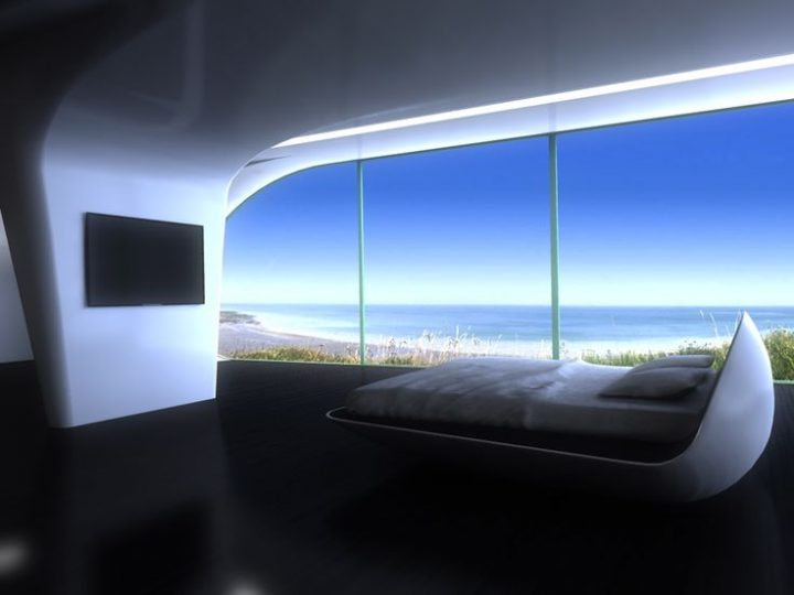 Futuristic Bedroom Idea: Pod-Like Bed Set Alongside a Window Front Overlooking the Beach and Sea