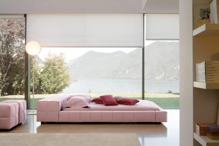 Futuristic Bedroom Idea: Pink Upholstered Bed Set on the Ground Floor in Front of A View of a Lake and Mountains in the Background