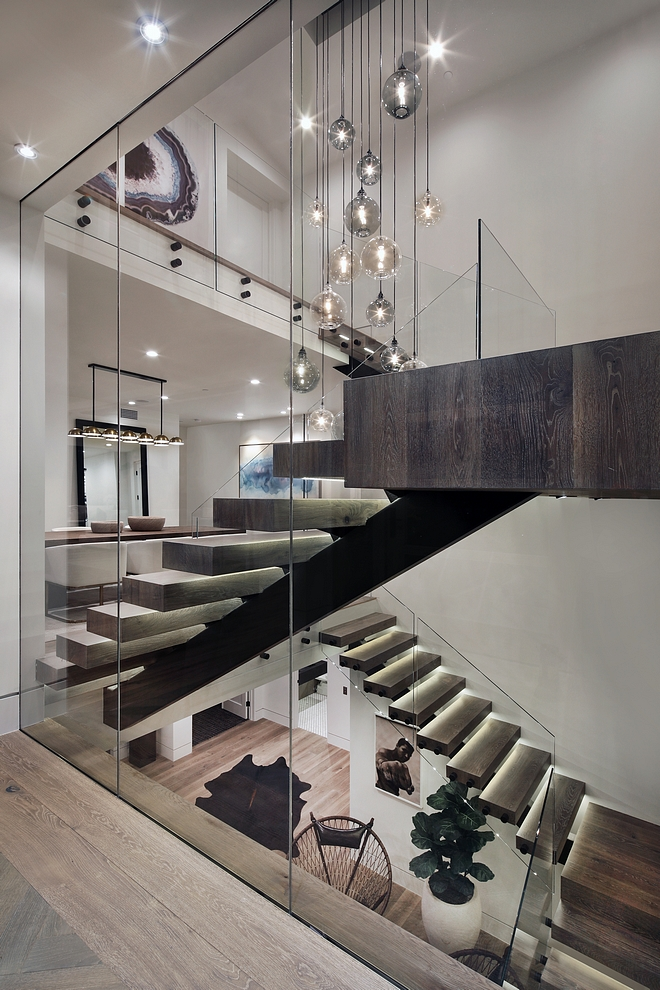 Staircase with Glass Walls and Glass Railing