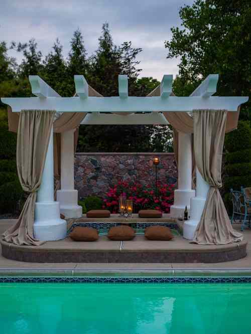 Open Gazebo in Ancient Roman or Greek Style With Drapes Wound Around Columns