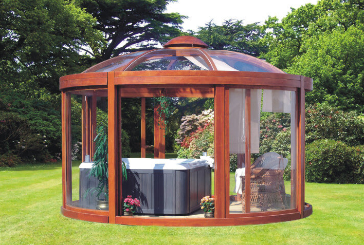 Hot Tub in Scandinavian Style Oval Gazebo with Glass Walls