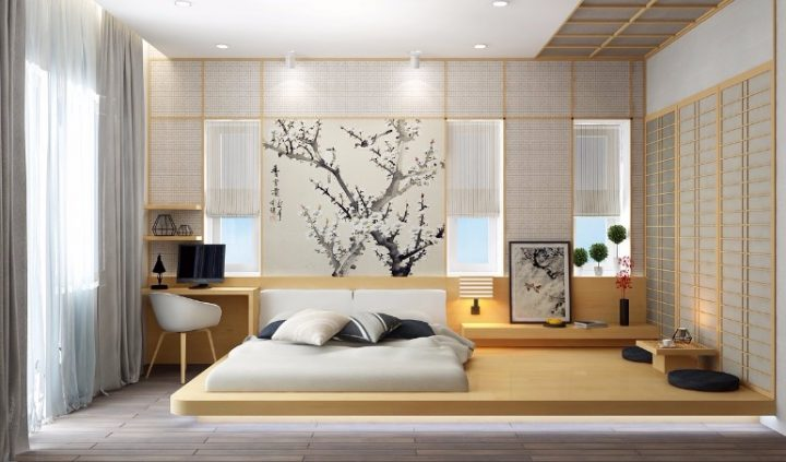 Art in a Japanese Bedroom