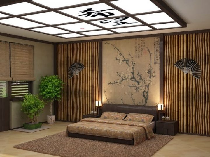 Japanese Bedroom with Matching Textures and Colours
