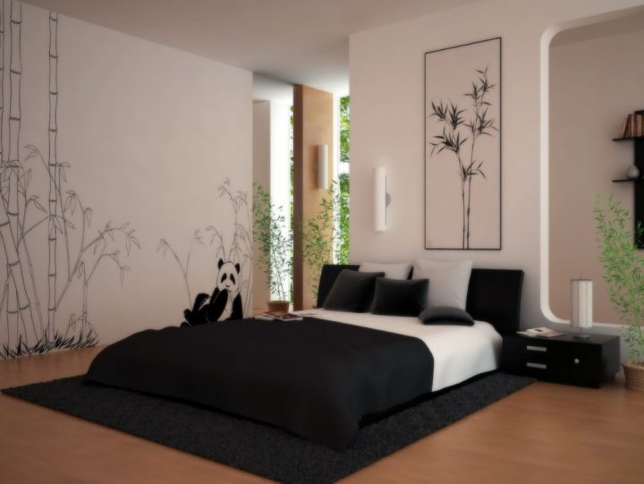 Japanese Bedroom with Light Walls and Black Bed