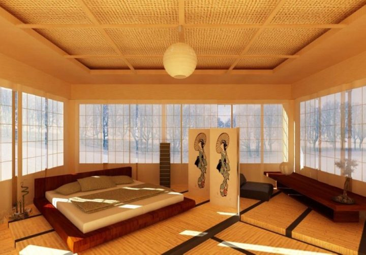 Japanese Bedroom with Seating Area Separated with a Folding Screen