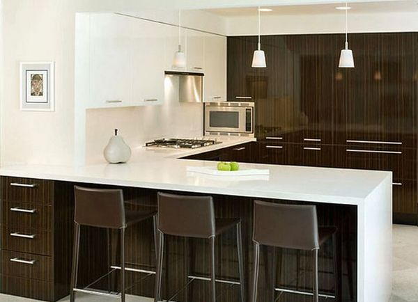 Kitchen Peninsula with White Countertop and Dark Brown Base