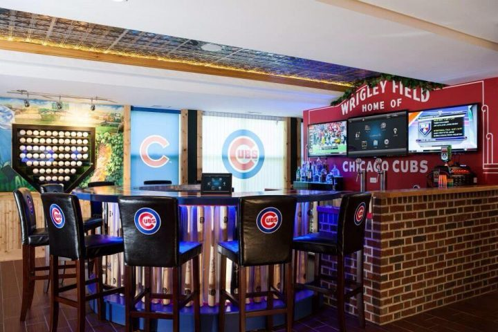Man Cave Chicago Cubs Styled Bar