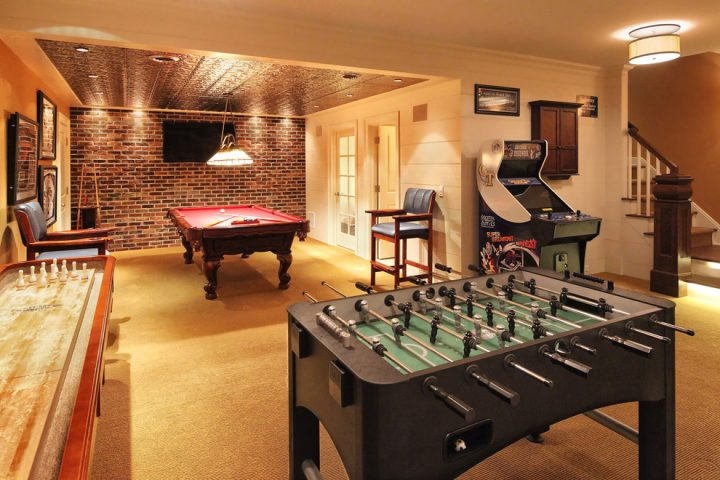 Man Cave With Pool Table, Air Hockey, and More