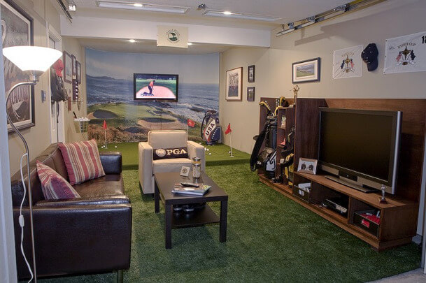 Man Cave with (Mini) Golf Course